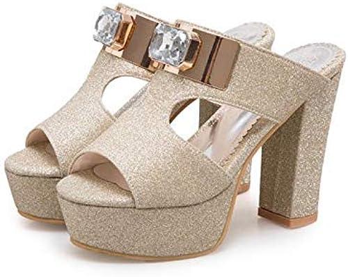 HTJL Sandales à Talons pour Femmes, Pantoufles Sandales à la Mode Chaussures à Talons Ultra pour Les Les dames de Mariage,or,40