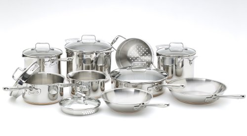 Big Sale Best Cheap Deals Emeril Stainless Steel with Copper and Pouring Spouts Dishwasher Safe 14-Piece Cookware Set, Silver
