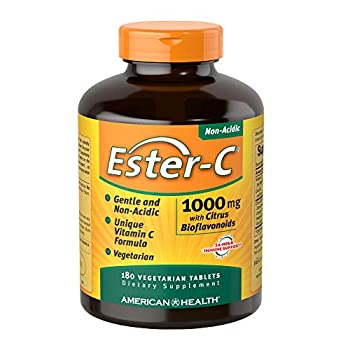 American Health Ester-C with Citrus Bioflavonoids Veg Tablets - 24-Hour Immune Support Gentle On Stomach Non-Acidic Vitamin C - Non-GMO Gluten-Free Vegan - 1000 mg 180 Count 180 Servings