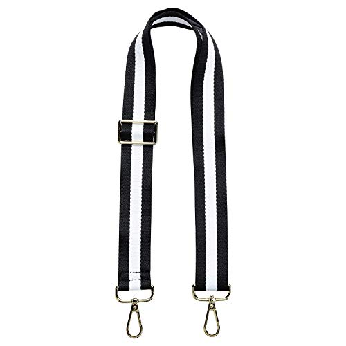 Wide Shoulder Strap Adjustable Replacement Belt Guitar Style Cross body Handbag Purse Strap (Black white Black)