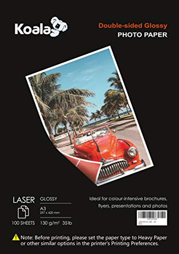 KOALA Papel Fotográfico Láser Brillante de Doble cara, A3, 130 g/m², 100 hojas, para impresoras LASER. Adecuado para...