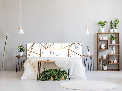 Cabecero Cama PVC Mármol Blanco y Dorado 135x60cm | Disponible en Varias Medidas | Cabecero Ligero, Elegante, Resistente y Económico