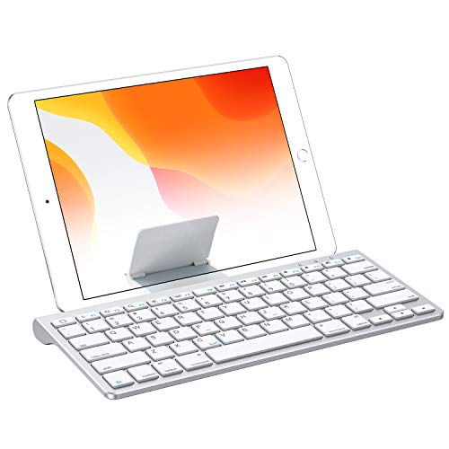 OMOTON Bluetooth Keyboard with Built-in Stand for New iPad 8 2020/iPad 7 2019-10.2 Inch, iPad Air 4-10.9 Inch, iPad Pro 11/12.9(2020/2019), iPad Air 3, iPad Pro 10.5, iPad Mini 5/4, iPhone, Silver