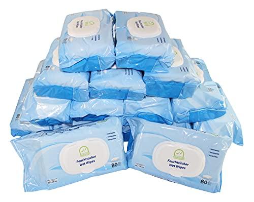 Medi-Inn Feuchttücher/Wet Wipes 20 x 18 cm parfüm- & parabenfrei pH-neutral (16 Packungen x 80 Tücher = 1280 Tücher)