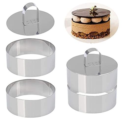 Juego de 4 anillos redondos de acero inoxidable para tartas, mousse y pastelería, minimolde para hornear, anillos de comida, anillos de postre, juego de 4 anillos y 2 prensas de alimentos (redondo)