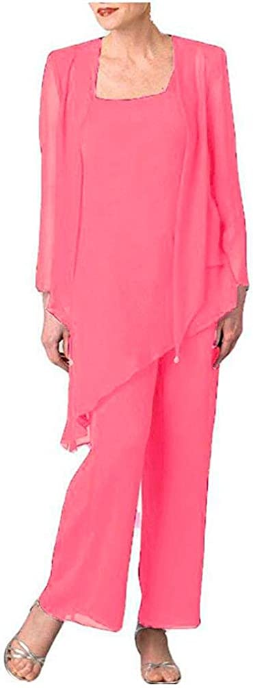 Women's Chiffon Dress Suits 3 PC Pants Suits for Mother of The Bride with Jacket Evening Gowns