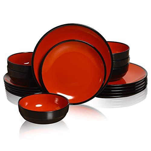 TP Geschirr-Set für 6 Personen, Melamin-Speiseteller und Schüsseln, 18-teiliges Geschirr-Set (rot und schwarz)