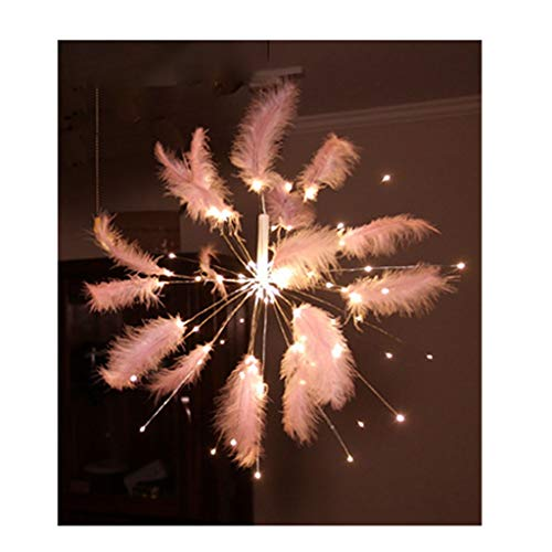ZCX Firework Lights LED Copper Wire String Lights Battery Operated Fairy Lights with Remote Dimmable Hanging Starburst Lights for Party Christmas Outdoor Christmas Lights (Color : Warm White)