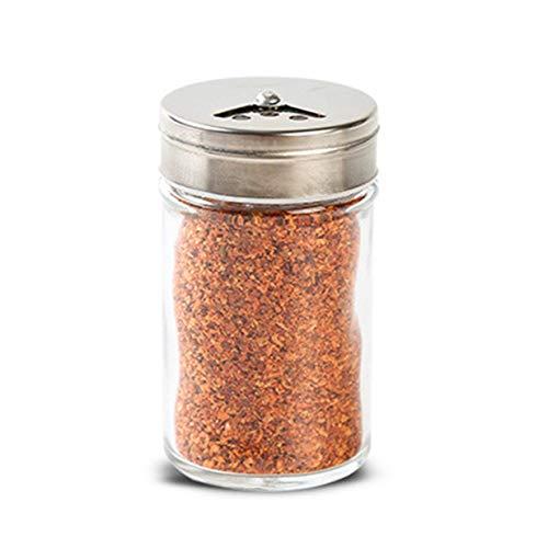 Timetided Tapa de Acero Inoxidable Condimento Olla Botella de condimento Vidrio Suministros y Materiales de Cocina Salero Regulación de rotación-Plata y Transparente
