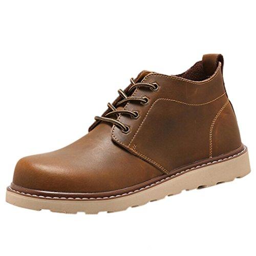 Boots Homme noël Bottes de Combat Flat Sport Chaussures Classiques Bottines en Cuir Hiver Automne Chaud noël Bottes Chaussures GongzhuMM Hommes à La Main Chaussures (CN39, Sexy Café)