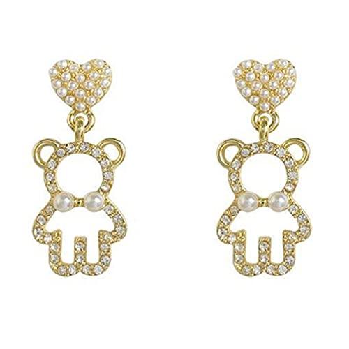 Haowen Pendientes de Oso Pendientes de niña Linda Pendientes de Perlas de Temperamento de Diamantes completos Oro