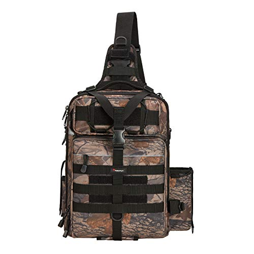 Piscifun Water-Resistant Outdoor Tackle Bag Single Shoulder Fishing Tackle Storage Bags Durable Handbag Crossbody Bag Multifunctional Bags for Camping Hiking Travelling Camoflauge