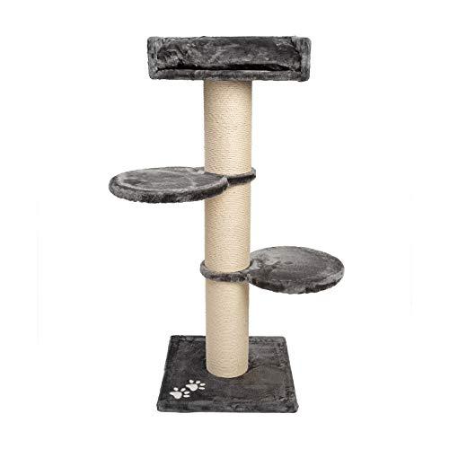 JAMAXX Premium 155cm XXL Kratzbaum für große schwere Katzen 20cm extra-starker Stamm, 4cm Starke Bodenplatte, extra-Dickes Kuschel-Plüsch, Kletterbaum Katzenbaum PCT6001 (Grau)