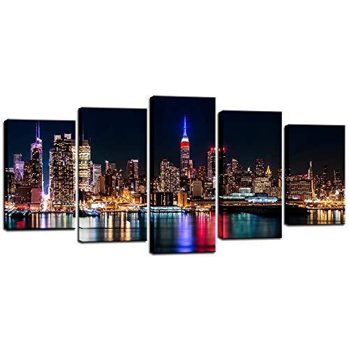 Biuteawal - New York City Canvas Wall Art Manhattan Skyline at Night Picture Prints Modern Home Office Wall Decoration Stretched Ready to Hang