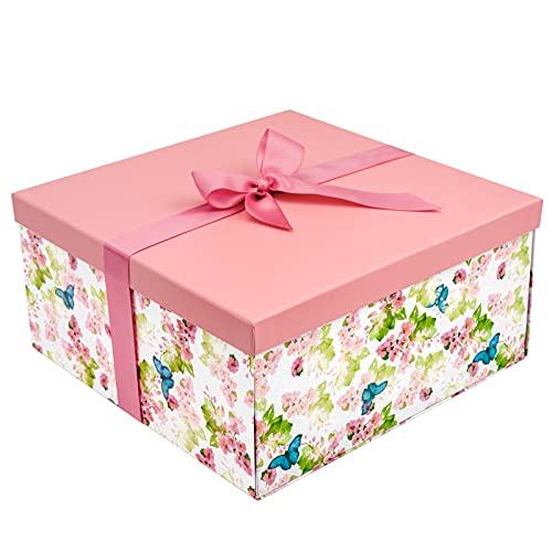 Holijolly 1 Paquete De Caja Con Tapas - Caja De Diseño De Mariposa Con Purpurina Con Tapas Y 2 Piezas De Papel De Seda Blanco Para Cumpleaños, Vacaciones, Fiestas, Celebraciones - 24,5 X 24,5 X 12 Cm