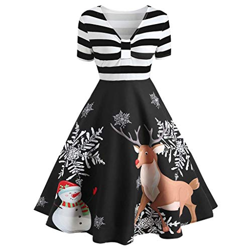 ღLILICATღ Mujer Vestido de Falda Vintage con Estampado de Rayas de Papá Noel de Navidad para Mujer Vestido con Cuello en V Swing Navidad De Manga Larga De Impresión Fiesta De Noche Vestidos de Fiesta