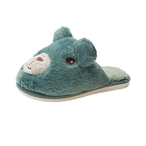 xinghui Calzado Interior de algodón,Inicio Patines de inundación Dibujos Animados Animal Oso Zapatillas de algodón Caliente-Verde_40