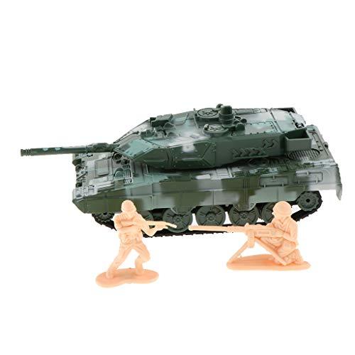Unbekannt 1:72 Pullback Auto Kampfpanzer Modell Army Panzer Modell Spielzeug mit 2 Soldaten Figuren - Grün, Deutsch Leopard 2A6
