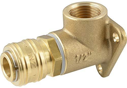 Fittingteile - Wanddose Druckluftverteiler Druckluftkupplung 1-fach Messing bis 35 bar (Ausführung: WD4 - Gewindegröße: G 1/2