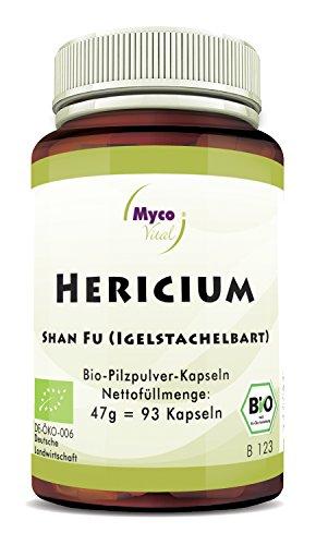 Hericium Pulver | 93 Pilz-Kapseln je 500mg Pulver | Superfood 100% vegan BIO Hericium