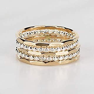 Hammered Stacking Rings, Mixed Metal, Set of 5, Custom Made in 14K Gold Fill and Sterling Silver
