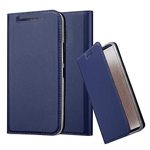 Cadorabo Hülle für HTC One M9 - Hülle in DUNKEL BLAU – Handyhülle mit Standfunktion & Kartenfach im Metallic Erscheinungsbild - Case Cover Schutzhülle Etui Tasche Book Klapp Style