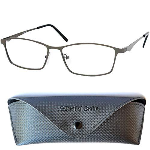 Elegante Metall Lesebrille mit rechteckigen Gläsern - mit GRATIS Brillenetui, Edelstahl Brillengestell (Graphit), Lesehilfe Herren und Damen +2.0 Dioptrien
