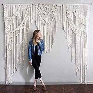 American Knit Bohemian Macrame Wall Hanging Decor Boho Chic Style Macrame Curtain & Macrame Wedding Backdrop Arch 10ft x 10ft