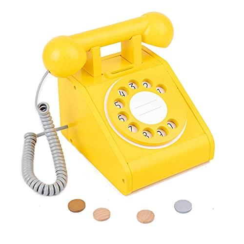 K-Park Juguete de teléfono rotativo - Niño de madera Playhouse Dial Teléfono Juguete Niños Pretender Juego Intercomunicador Teléfono Juguete Interactivo Pretender Teléfono Premium