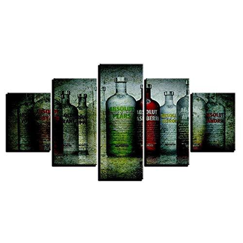 ZSMD Marco de Cinco Piezas Arte de Pared Cuadro de Lienzo Moda Creativa Botella de Vino Bar Familiar Dormitorio 10X15 10X20 10X25Cm Sin Marco