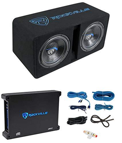 Rockville DK512 Package Dual 12' 2800w K5 Car Subwoofer Enclosure+DB12 Amplifier