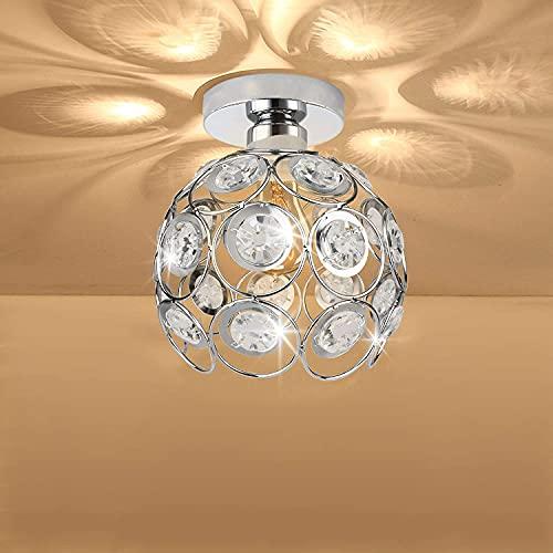 HLigExp - Plafón semiempotrado, lámpara de cristal semiempotrado, mini lámpara de cristal moderno, lámpara de techo de metal blanco