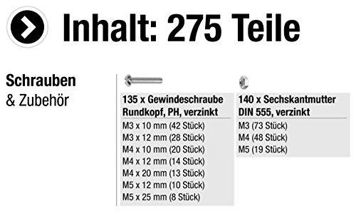 Connex DP8500055 Gewindeschrauben-Sortimentskasten inklusiv Muttern, PH Phillips-Antrieb, Rundkopf, 275- teilig, verzinkt