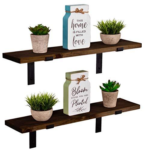 3 Tier Wood Shelves with Black Pipe Brackets (Dark Walnut, 3 Tier)