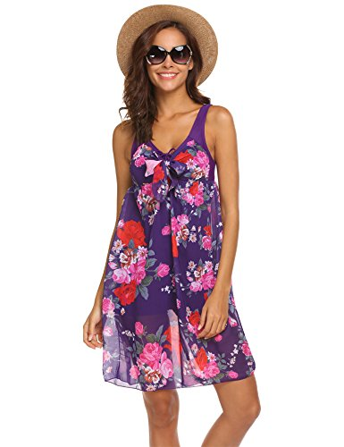 Hotouch Women's One-Piece Flower Rose Printing Slimming Swimsuit Swimdress Violet XL