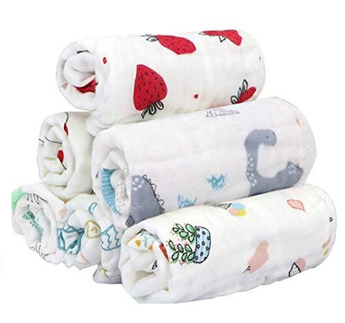 ベビー ガーゼ 赤ちゃん タオル 6層 ループ付 綿100% 柔らかく 通気性も抜群 可愛い 30×30cm 6枚セット