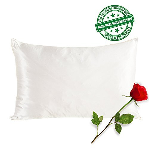 SilkSlip 100% Pure Mulberry Silk Pillowcase with Cotton Underside and...