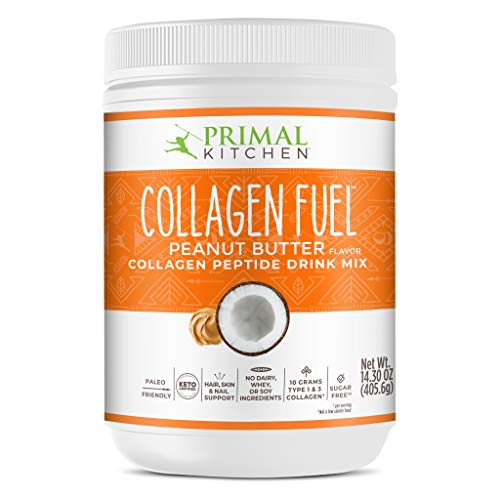 Primal Kitchen Peanut Butter Collagen Fuel Drink Mix - Non-Dairy Coffee Creamer & Smoothie Booster- Supports Healthy Hair, Skin, and Nails