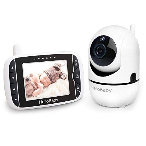 HelloBaby Video Baby Monitor with Remote Camera Pan-Tilt-Zoom, 3.2'' Color LCD Screen, Infrared Night Vision, Temperature Monitoring, Lullaby, Two Way Audio, Wall Mount Kit Included