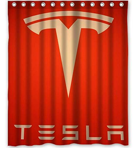 dsgrdhrty Tesla Auto rotes Schild Badezimmer Duschvorhang dekorativen Stil wasserdicht 180x180