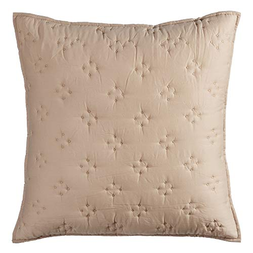 Ldk Garden Cojín drapeado Hecho a Mano Beige de algodón Natural de 60x60 cm - LOLAhome