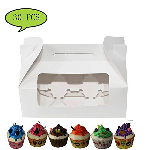 Cupcake Boxes Cupcake Box with Handle Cupcake Gift Boxes for 6 Container with Display Window Cupcake Containers (White,30 Units Pack)9 inch x 5.9 inch x 3.5 inch by Sahara Home