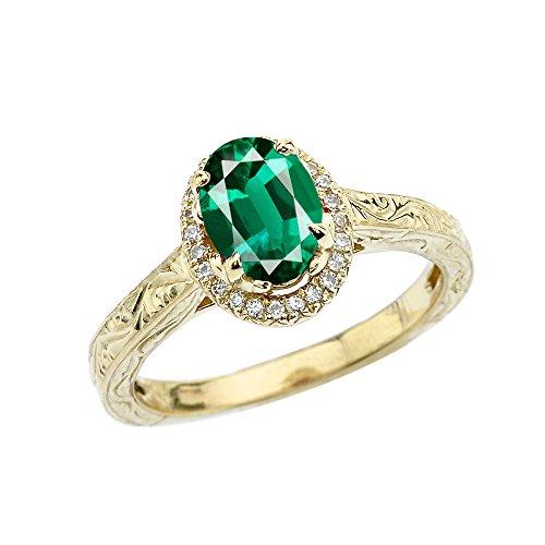 Damen Ring/Verlobungsring 9 Karat Gelbgold Art Deco Diamant Mit Smaragd(Lce)