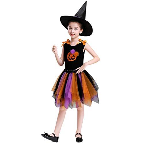 Mamum Princess Enfants Halloween Costume Filles Garçons Halloween Cosplay Dress Costume 2-10 Ans Cadeau d'halloween (Orange, 160(10Ans))