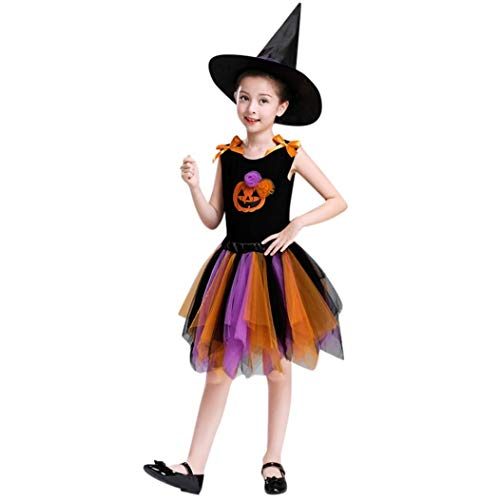 Mamum Princess Enfants Halloween Costume Filles Garçons Halloween Cosplay Dress Costume 2-10 Ans Cadeau d'halloween (Orange, 160(10Ans))