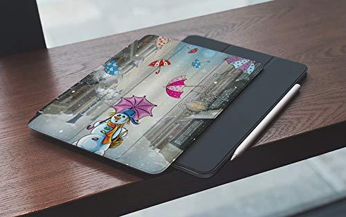 Funda para iPad 10.2 Pulgadas,2019/2020 Modelo, 7ª / 8ª generación,Imagen de dibujos animados infantiles de invierno con muñeco de nieve y coloridas Um Smart Leather Stand Cover with Auto Wake/Sleep