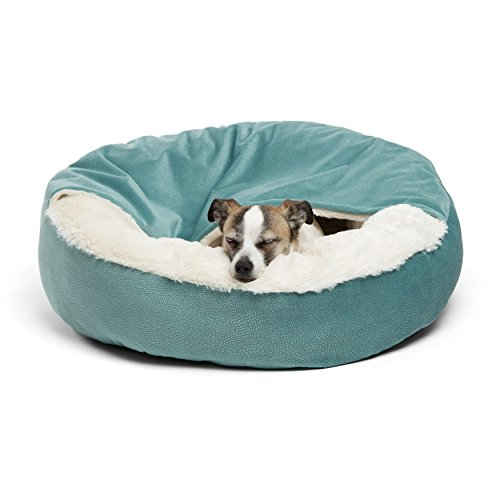 """Best Friends by Sheri Cozy Cuddler, Tidepool – Luxury Dog and Cat Bed with Blanket for Warmth and Security - Offers Head, Neck and Joint Support - Machine Washable, Medium - 26"""" x 26"""""""
