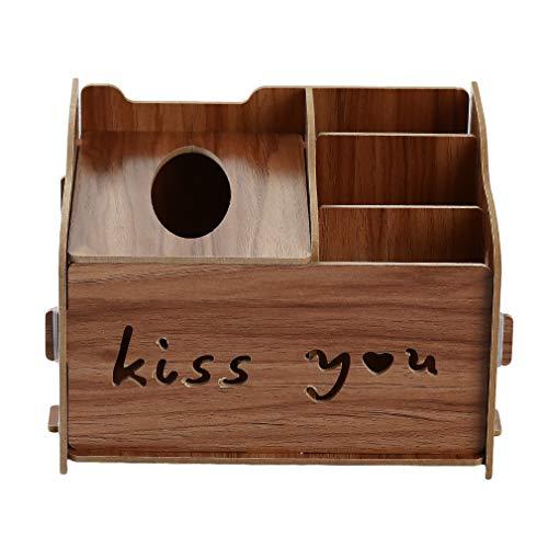 Kaned Kosmetik Aufbewahrungsbox Holz Bedruckte Desktop Organizer Schublade Aufbewahrungsbox, Walnuss