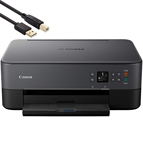 Canon PIXMA TS 64xx Series All-in-One Bluetooth Wireless Color Inkjet Printer for Home Office- Black - Print Scan Copy - 13.0 ipm, Auto 2-Sided Printing, Voice-Activated- ORPHYER 10 Feet Printer Cable