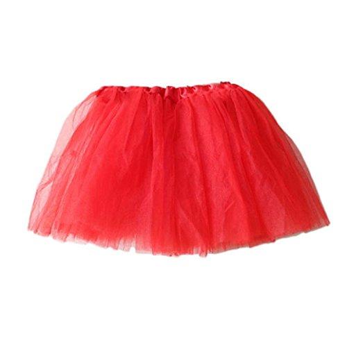 ZHOUBA Tutu für Mädchen, Prinzessin, einfarbig, für Ballett, Tanz, Party, Tutu Gr. Einheitsgröße, rot